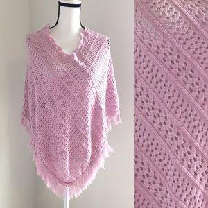 Size S 525 America Pink Crochet Knit Fringed Shawl